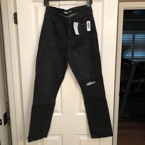 NWT 12 TALL Black Cropped Straight Jeans
